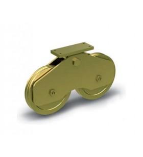 Ruedas especiales para puertas y cancelas muy pesadas con apoyo central balanceado - guía O