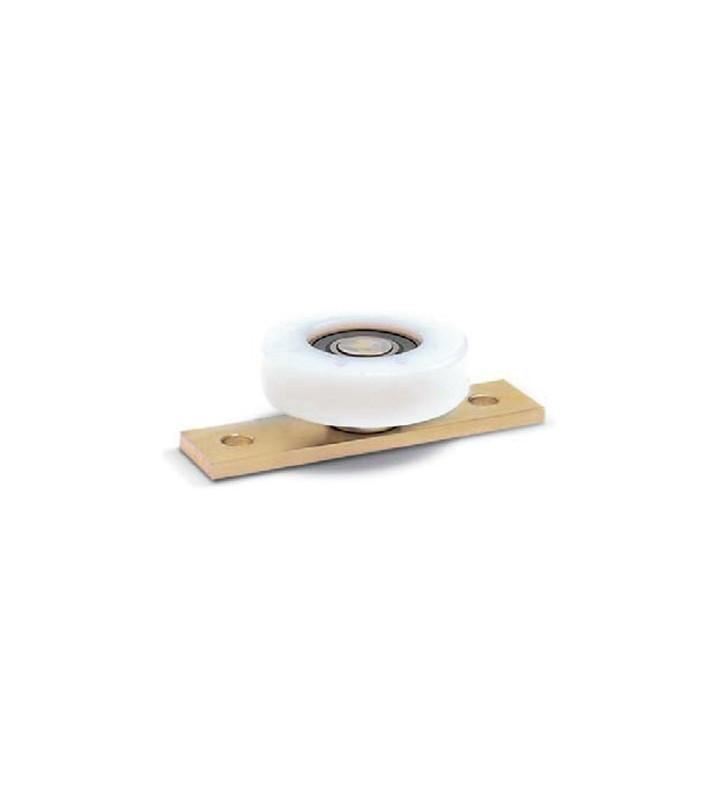 Rueda nylon plana con placa y rodamiento