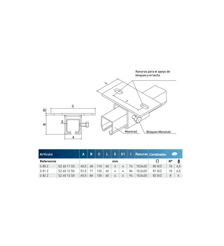 LINEA MINIGIPI - Soporte universal para atornillar a techo regulable en anchura para monorail