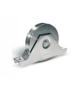 Ruedas corredera con soporte atornillar con 2 rodamientos y pernio engrasador- guía V
